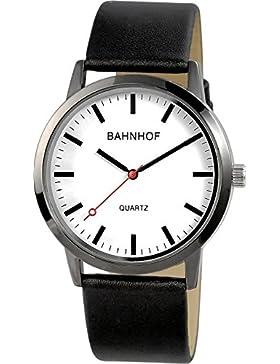 Herren Quartz Watch Bahnhofsuhr klassische Pu Leder Herrenuhr Analog Armbanduhr