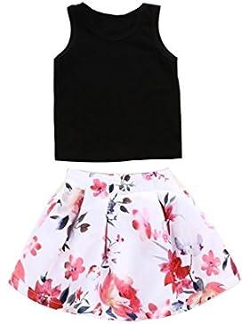 Conjunto de Ropa, Zolimx Bebé Niño Niña Sin Mangas Camiseta Tops + Falda de Impresión Floral Traje