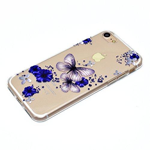 iPhone 7 Hülle (4.7 Zoll), E-Lush TPU Material Gehäuse, Schlank und Leichtes Transparentes Stoßfängergehäuse [Anti-Kratzer, Schockresistent] Schutzhülle für iPhone 7 (4.7 Zoll) - Herz Blauer Schmetterling