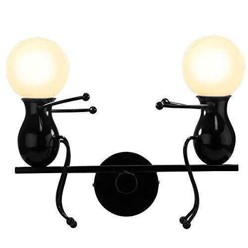 Lampe Murale Moderne Mode Applique Murale Créatif Simplicité Design Appliques pour Chambre d'enfant Couloir Décoratives Eclairage Lampe Douille E27*2 max. 40W , Noir