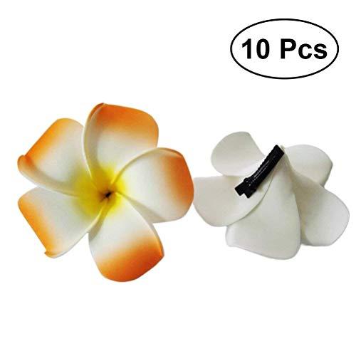 Persönlichkeit Urlaub Hawaiian Blume Haarnadeln Haarspangen Plumeria Schaum Haarnadeln Sommer Strand Blume Haarspangen für Festival Party Kopfschmuck 10 Stücke (Farbe sortiert) Party bevorzugt Dekorat