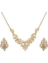 Victoria Pearl Necklace Set In CZ Crystal Diamonds With Gold & Rhodium Plated By Sempre Of London