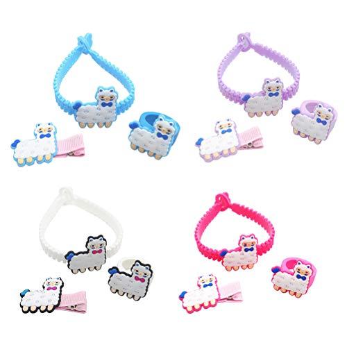 Amosfun 4 Sätze Alpaka Gott Tier Muster dreiteilige PVC Weichgummi Kinder Schmuck Armbänder Ringe Haarnadeln