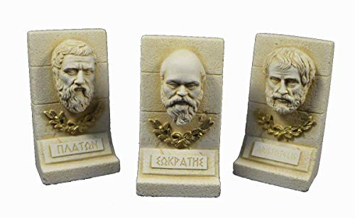 Skulpturen-Set antiker griechischer Philosophen: Sokrates, Plato und Aristoteles -