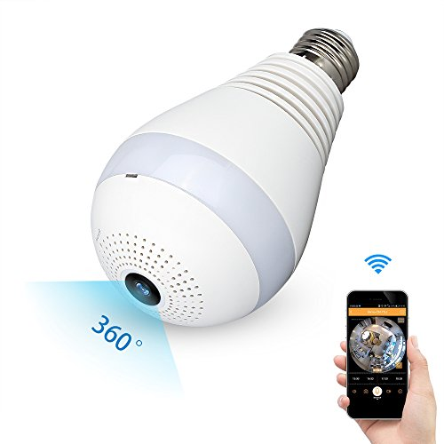 Camera WiFi Light Bulb Home Security Hidden Spy Panoramic Camera Fisheye