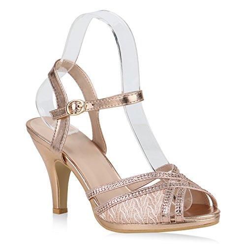 Stiefelparadies Damen Sandaletten Riemchensandaletten Party High Heels Strass 154404 Rose Gold 37 Flandell