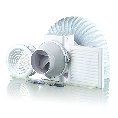 Blauberg UK 100-1 Vents TT-Bathroom Shower Fan Kit 100mm with Timer, 240 V, White