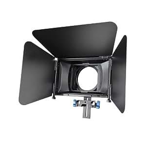 Morros Matte Box M3 pour appareils photo réflex numériques Parasoleil au design coulissant avec deux plateaux à filtre Supportant deux filtres 4 x 4 - un fixe, un pivotant - pour barre support de 15 mm