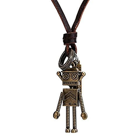 AMDXD Jewelry Stainless Steel Pendant Necklaces for Mens Robot Gold Leather Necklace