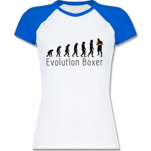 Evolution - Boxer Evolution - zweifarbiges Baseballshirt / Raglan T-Shirt für Damen Weiß/Royalblau