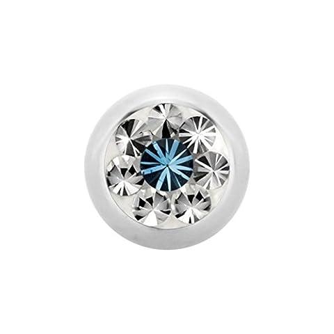 6 mm - LS- Light Siam/Rot - Stahl - Schraubkugel - Epoxy - Kristall - SWAROVSKI - Supernova Concept (Piercing Schraubkugel Aufsatz für Hufeisen, Stäbe, Labrets etc.)