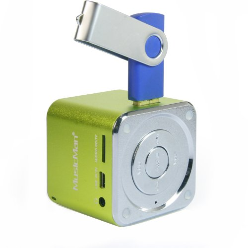 MusicMan Mini Soundstation (MP3 Player, Stereo Lautsprecher, Line In Funktion, SD/microSD Kartenslot) grün (Usb-stick Mp3-player)