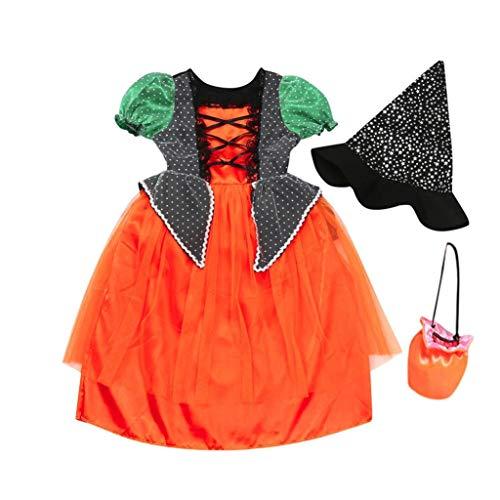 Halloween Kostüm, Frashing 3PCS Tutu + Hexenhut + Tasche, Mädchen Kleid Prinzessin Rock Kürbisform Cosplay Kostüm Karneval Weihnachten Halloween Geburtstag Party