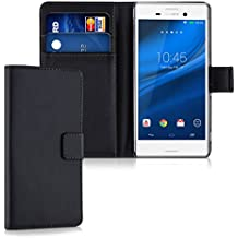 kwmobile Funda para Sony Xperia M4 Aqua - Wallet Case plegable de cuero sintético - Cover con tapa tarjetero y soporte en negro