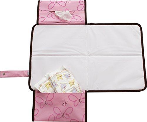 Original Dooky, Telo fasciatoio da viaggio con tasca porta pannolini/salviette 3-in-1, Rosa (Rosa)