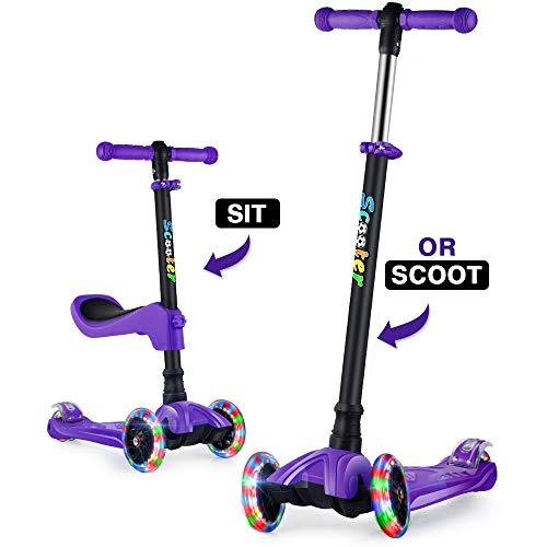 GOOGO Kinderscooter Dreirad Scooter mit Abnehmbaren Sitz, Kinderroller mit 3 PU LED Rädern für Kleinkinder Jungen Mädchen ab 2 Jahre (Lila)
