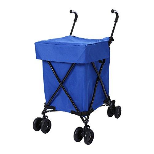 Meditool 88L klappbar Einkaufstrolley Lebensmittel Einkaufswagen abnehmbare Einkaufstasche Handwagen Blau