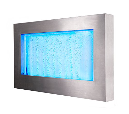 Fontana a parete d'acqua orizzontale con bollicine e luci led