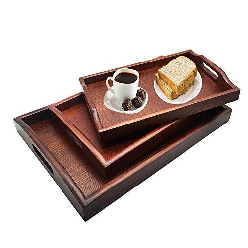 3er Serviertablett Set Holztablett Rechteckig Holz Servierplatte aus Massivholz Küchenplatte für Geschirr und Getränke Serving Tray (Braun) Serving Set