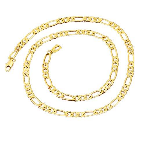lskette Schmuck Herren Edelstahl Goldkette Flache Fischgrätverbindung - 5mm Breite - 55CM - Gold ()
