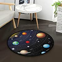 """AMONKA Outer Space Solar System Kids Round Rug Baby Crawling Non-Slip Mats Child Activity Play Mat For Bedroom Playroom Home Decor (Diameter 36.2"""")"""