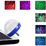 Palla da discoteca portatile a LED Lampada da palcoscenico alimentata da USB RGB Decorazione da palco Specchio rotante Palla da discoteca a specchio per feste (blu, iPhone connettore)