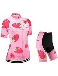 [Cojín 3D][traje[strap blancas] tamaño:L] Jerseys para ciclismo maillot rompevientos transpirable de los rendimiento mujer corta chaleco ropa manga