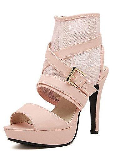 UWSZZ IL Sandali eleganti comfort Scarpe Donna-Sandali-Formale-Tacchi / Plateau / Aperta-A stiletto-Finta pelle-Nero / Rosa / Bianco Black