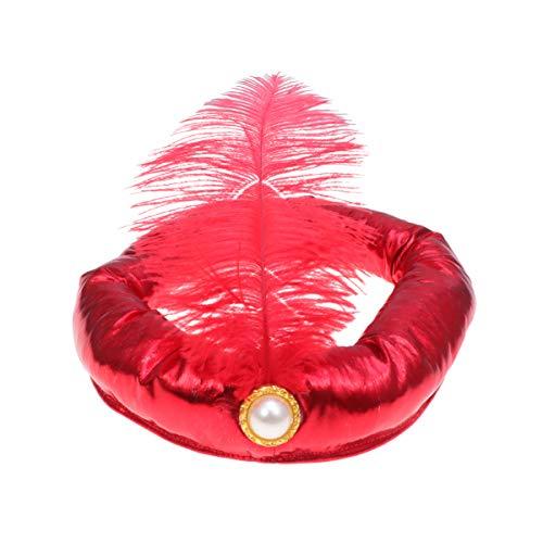 Kostüm Sultan Arabischer - Amosfun Arabischer Hut Halloween Feder Sultan Prinz Hut Sultan Kostüm Cosplay Stirnband rot