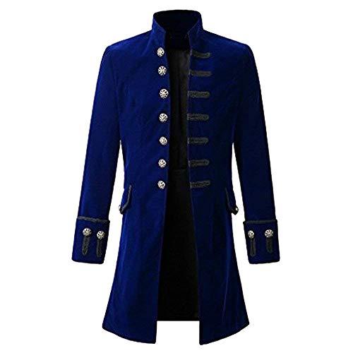 Chaqueta Gótica Steampunk Gótico De Cuello Cuello Largo Redondo Outwear con Y Chaqueta De Abrigo para Hombre (Color : Blau, Size : 3XL)