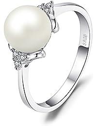 338f561d47e1 JewelryPalace Blanco 8mm AAA mujer de agua dulce de agua de cultivo de  perlas 925 de