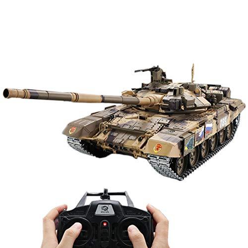 Haunen 1/16 2.4GHz RC Ferngesteuerter Panzer Metall mit Schussfunktion, Rauch und Sound, inkl. Akku, Ladegerät, Fernsteuerung und Darts, Russian T90 Main Battle Tank