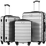 COOLIFE Hartschalen-Koffer Trolley Rollkoffer Reisekoffer mit TSA-Schloss und 4 Rollen(Silber, Koffer-Set)