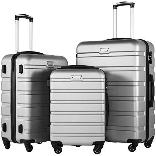 COOLIFE Hartschalen-Koffer Trolley Rollkoffer Reisekoffer mit TSA-Schloss und 4 Rollen(Silber, Koffer-Set) (Kofferset Mit Tsa-schloss)