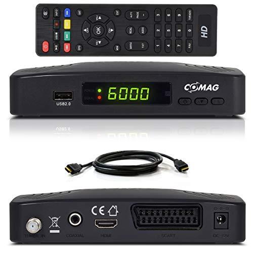 Comag HD25 Volks-Receiver + HDMI Kabel HDTV HD Satelliten Receiver Sat schwarz + PVR Ready Aufnahme USB 2.0, DVB-S2, HDMI, SCART + HDMI EasyFind Easy Find 1080p digital digitaler Satellitenreceiver
