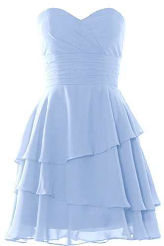 MACloth Women Strapless Tiered Cocktail Bridesmaid Dress Wedding Formal  Gown Himmelblau
