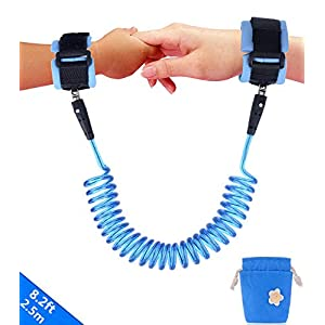 Emwel Anti Lost Wrist Link Belt, 2.5M/ 98Inch Baby Toddler Reins Safety Leash Wristband Walking Hand Belt Harness Security Elastic Wire Rope, Children Kids Travel Cares Safety Restraint (Blue)   4
