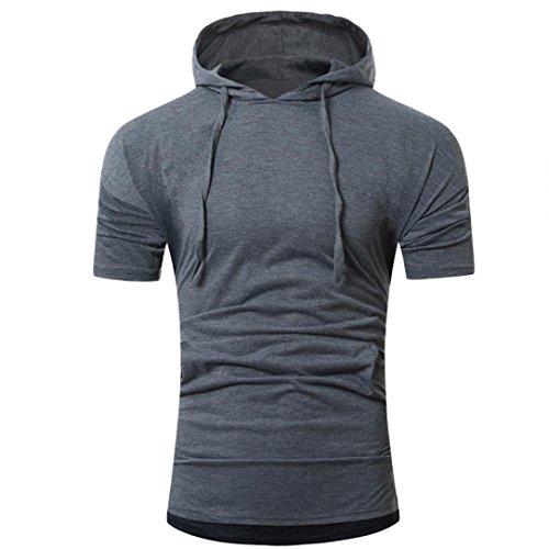 Baumwolle T-Shirt Herren, DoraMe Männer Kurze Ärmel Hemd Sommer Mode Kapuze Pullover Slim Fit Sportlich Bluse Solide Lässig Shirt (Dunkelgrau, Asien Größe L) (Denim Arbeit Kurz Herren)