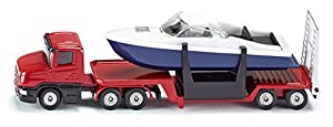SIKU 1613 - Camión con Remolque bajo y Barco