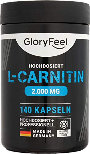 GloryFeel® L-Carnitin Kapseln Hochdosiert 3000-140 vegane Kapseln – 3.000mg original L-Carnitintartrat davon 2.000mg reines L-Carnitin – Laborgeprüft und ohne Zusätze hergestellt in Deutschland