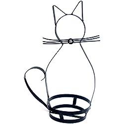 OUNONA Estantería de hierro con forma de gato para cesta de flores, jardín, maceta, estructura de pie, moderna, decoraciones de metal
