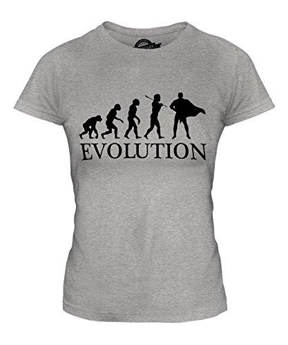 Evolution Batman Kostüm - Candymix Superheld Evolution des Menschen Damen T Shirt, Größe Small, Farbe Grau Meliert