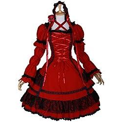 M de 3315Rojo Red Stretch Gothic Lolita Classic vestido Disfraz Dress Cosplay kawaii de Story
