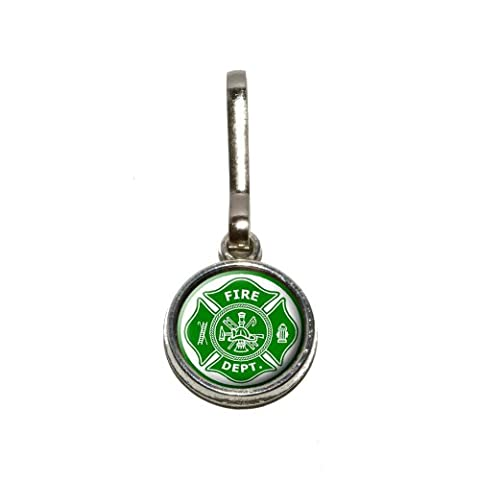 Firefighter Firemen Maltese Cross - Green Antiqued Charm Clothes Purse Luggage Backpack Zipper Pull