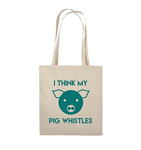 Comedy Bags - I THINK MY PIG WHISTLES - Jutebeutel - lange Henkel - 38x42cm - Farbe: Schwarz / Pink Natural / Türkis