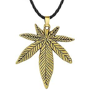 Halskette mit Ahornblatt-Anhänger, groß, Hanf, Fimble Blatt, afrikanische Pflanzen, Baum, Unkraut, Blätter, Anhänger, Halskette für Herren