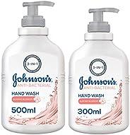 JOHNSON'S, Liquid Hand Wash Anti-Bacterial Almond Blossom, 500 + 300 ml (Pack of 2)