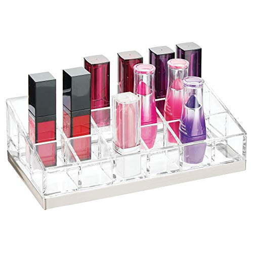 mDesign Rangement Maquillage Pratique – boîte à Maquillage déco pour Vernis à Ongles et Rouge à lèvres – présentoir Make up à 18 Compartiments – Transparent et argenté