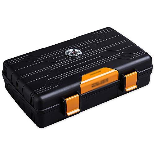 tel Zigarrenschachtel - Cigar Humidor Travel Portable 10er Pack Luftbefeuchter Feuchtigkeitscreme Zigarrenschachtel @@ (Color : Yellow) ()