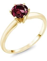 1.00 Ct Red Rhodolite Garnet 14K Yellow Gold Engagement Solitaire Ring